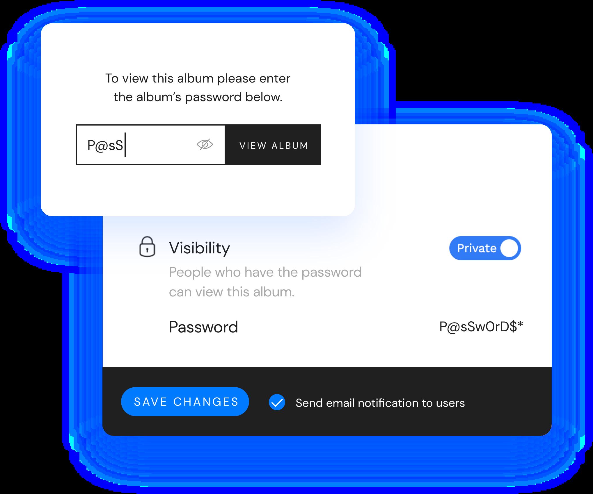 Album enter password sample