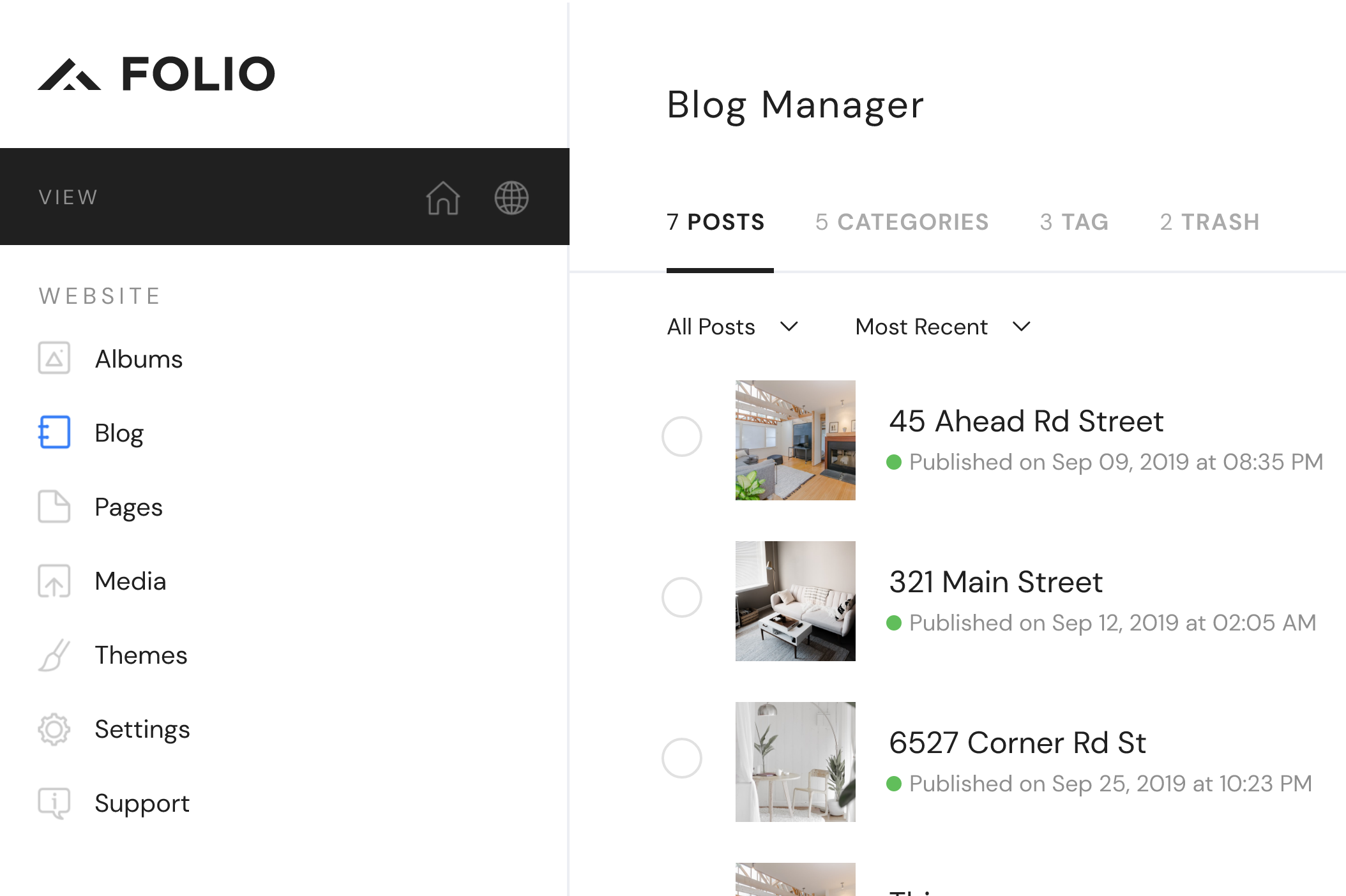 Folio Blog Post Manager
