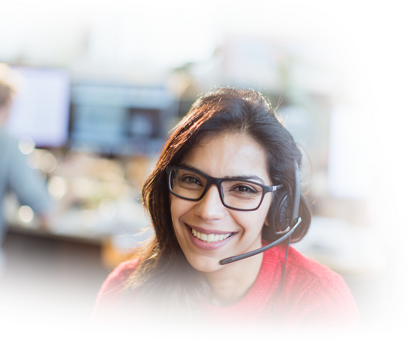 Smiling girl with eyeglasses and headphones